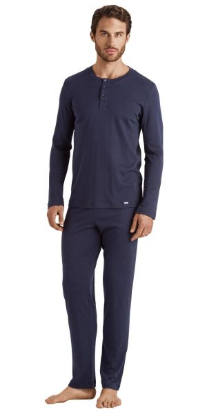 HANRO Thilo L/SLV Pajama Interlock - Midnight S - 75717