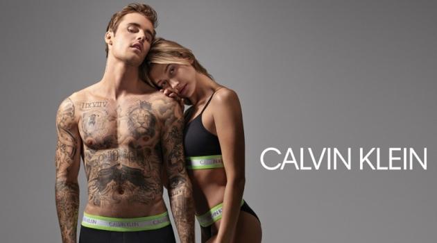 Justin and Hailey Bieber star in Calvin Klein's underwear campaign.
