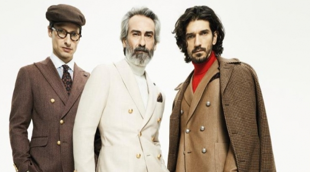 Models Jonas Mason, Miguel Angel Gallardo, and Jonathan Saxby come together for Lardini's fall-winter 2019 campaign.
