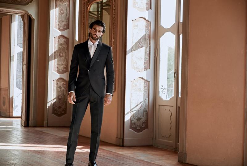An elegant vision, Andrea Melchiorre wears a Lubiam 1911 Cerimonia tuxedo.