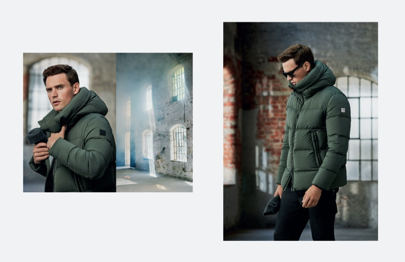 British model Guy Robinson sports a green puffer jacket from Lufian's fall-winter 2019 collection.