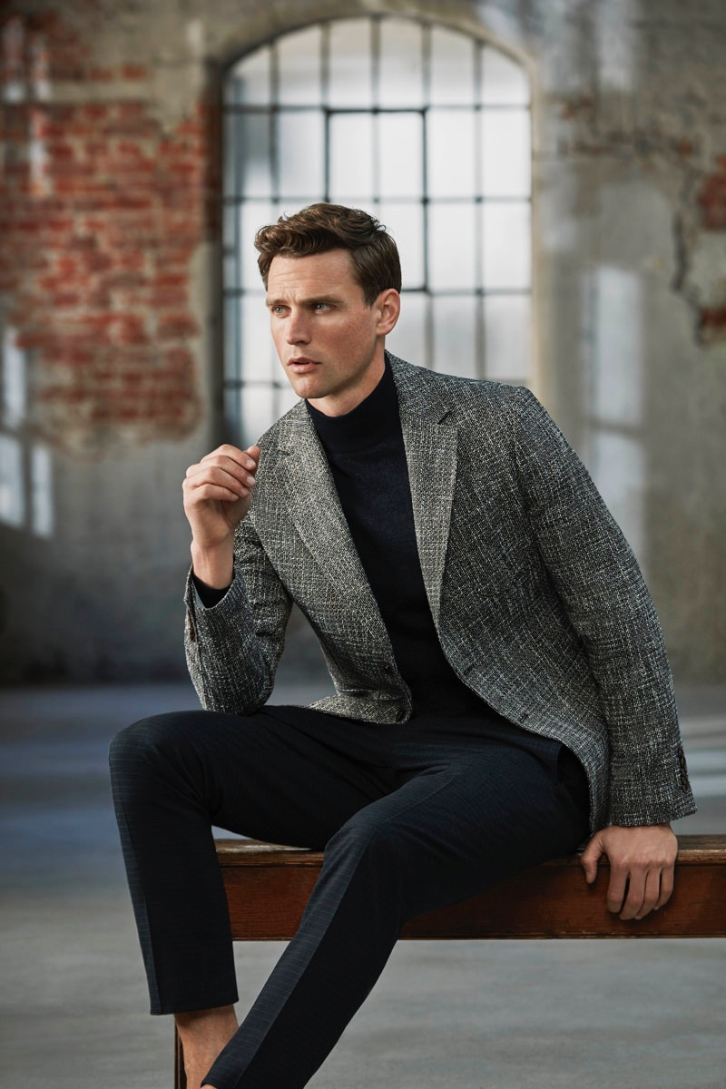 A smart vision, Guy Robinson dons tailored separates from Lufian.