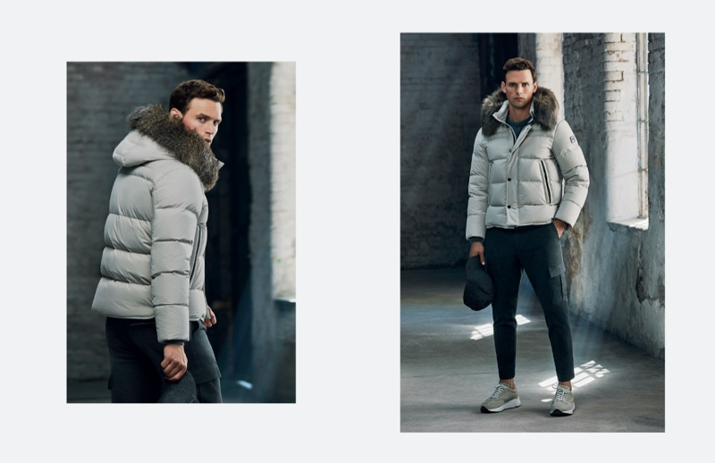 Going casual, Guy Robinson models a grey Lufian puffer jacket with cargo pants.