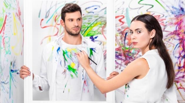 Male Model Female Model Painting Artwork Fashion White Room