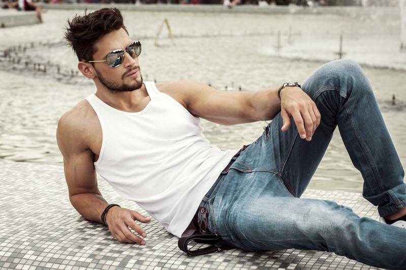 Male Model White Tank Top Jeans Aviator Sunglasses