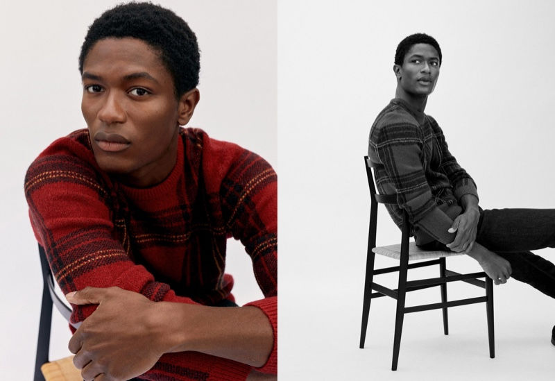 Ready for the holidays, Hamid Onifade wears Mango's red tartan sweater.