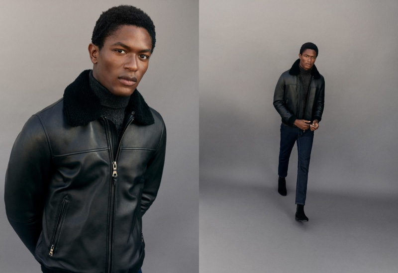 Model Hamid Onifade dons a faux nappa leather jacket from Mango.