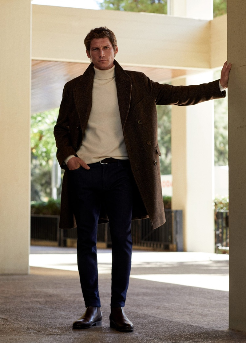 French model Roch Barbot wears a seventies-inspired look from Mango.