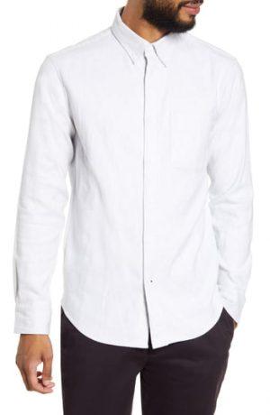 Men's Club Monaco Jaspe Button-Down Shirt, Size Small - Grey