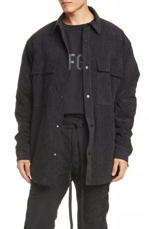 Men's Fear Of God Faux Suede Shirt Jacket, Size Medium - Black