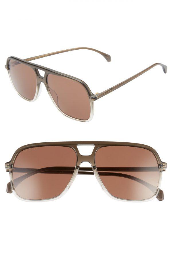 Men's Gucci 58Mm Navigator Sunglasses - Shiny Gradient Grey/ Crystal