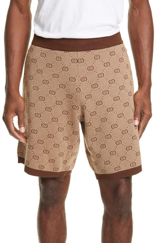 Men's Gucci Gg Supreme Wool Blend Knit Shorts, Size Medium - Brown
