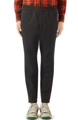 Men's Gucci Military Drill Cotton Pants, Size 52 EU - Black