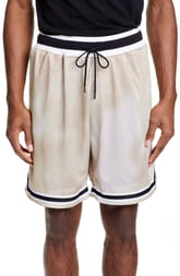 Men's John Elliott Tie Dye Mesh Basketball Shorts, Size Large - Beige