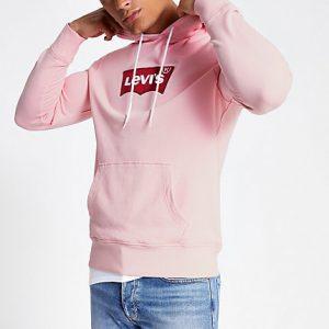 Mens Levi's pink logo hoodie