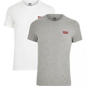 Mens Levi's white logo slim fit T-shirts 2 pack