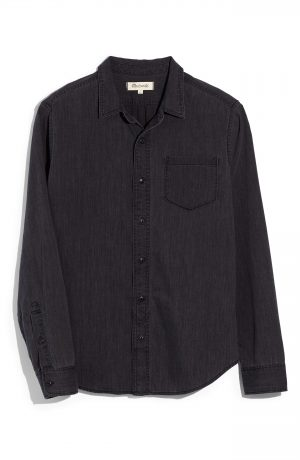 Men's Madewell Cutler Wash Denim Shirt, Size Medium - Black