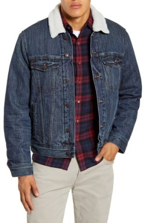 Men's Madewell Faux Shearling Classic Jean Jacket, Size Small - Blue