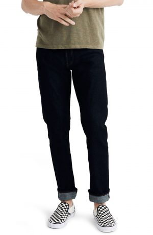 Men's Madewell Selvedge Straight Jeans, Size 33 x 32 - Blue