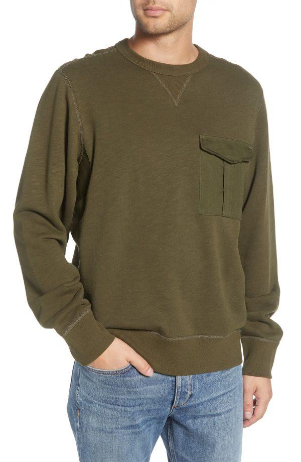 Men's Rag & Bone Airington Crewneck Pocket Sweatshirt, Size Small - Green
