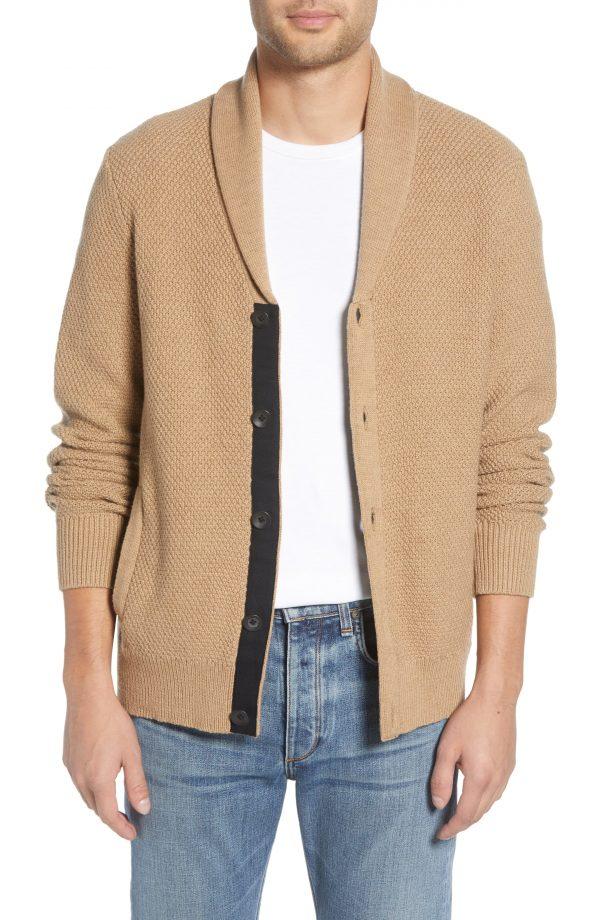 Men's Rag & Bone Cardiff Classic Fit Wool Blend Cardigan Sweater, Size Small - White