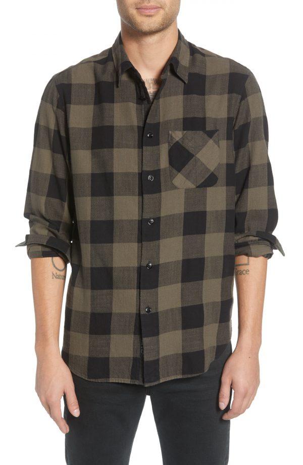 Men's Rag & Bone Fit 3 Beach Regular Fit Buffalo Check Flannel Shirt, Size Medium - Green