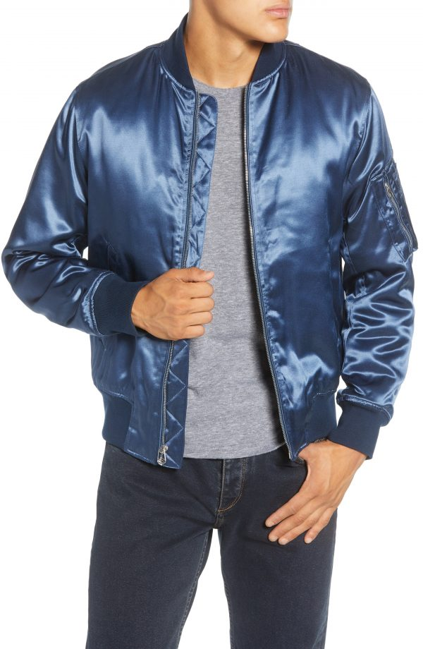 Men's Rag & Bone Manston Bomber Jacket, Size Large - Blue
