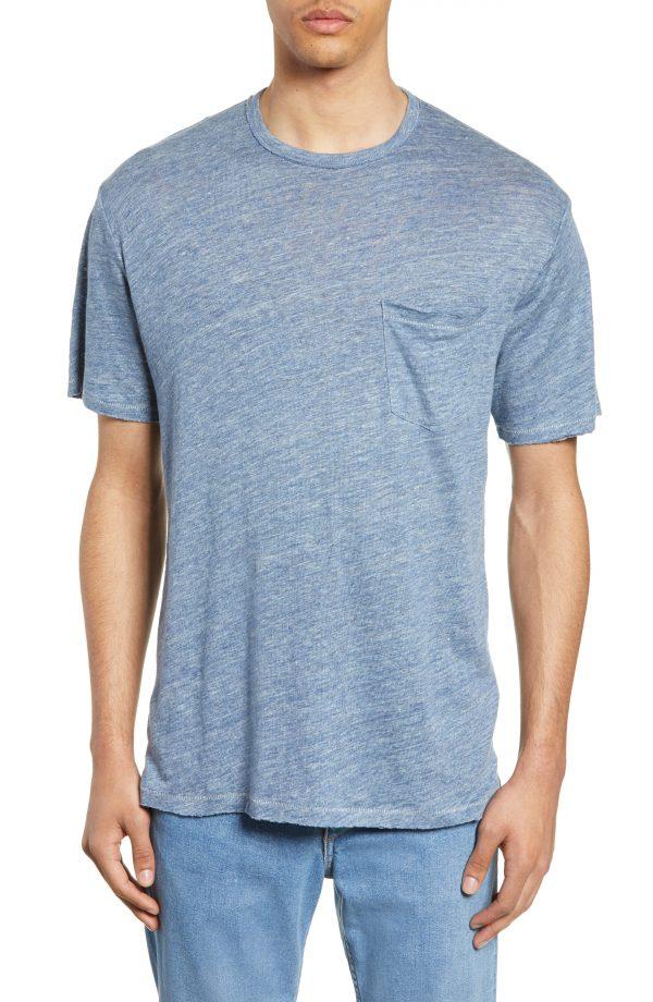 Men's Rag & Bone Owen Linen Slim Fit Pocket T-Shirt, Size Medium - Blue