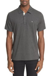 Men's Rag & Bone Slub Cotton Slim Fit Polo, Size X-Small - Grey