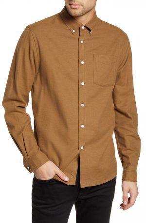 Men's Saturdays Nyc Crosby Button-Down Flannel Shirt, Size Medium - Brown