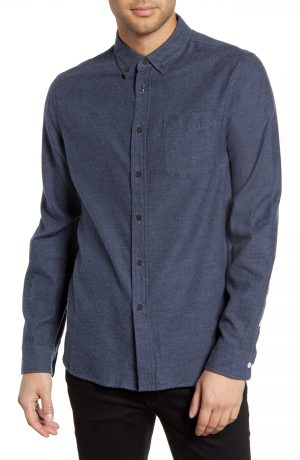 Men's Saturdays Nyc Crosby Button-Down Flannel Shirt, Size Small - Blue