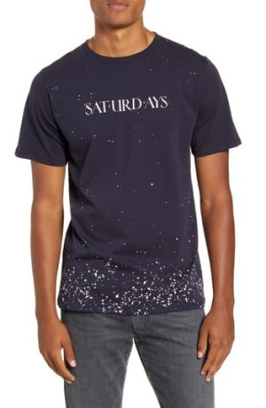 Men's Saturdays Nyc Saturdays Wash Logo Graphic T-Shirt, Size Small - Blue