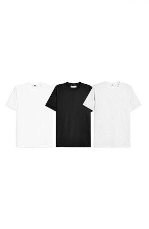 Men's Topman 3-Pack Classic Fit Crewneck T-Shirts, Size Small - Black