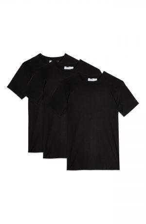 Men's Topman 3-Pack Classic Fit Crewneck T-Shirts, Size X-Small - Black