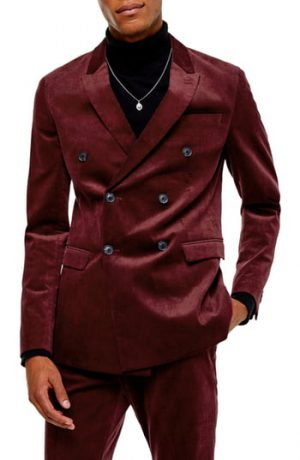 Men's Topman A-List Corduroy Skinny Fit Suit Jacket, Size 36R - Burgundy