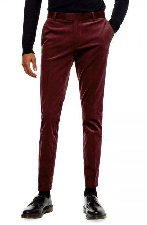 Men's Topman A-List Skinny Fit Velveteen Trousers, Size 30 x 32 - Burgundy