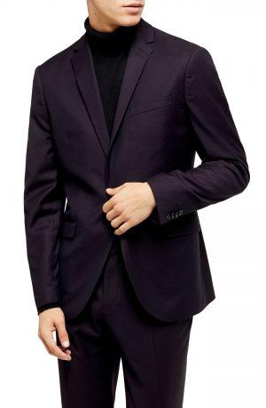 Men's Topman Burg Maverick Sb1 Slim Fit Sport Coat, Size 34R - Burgundy