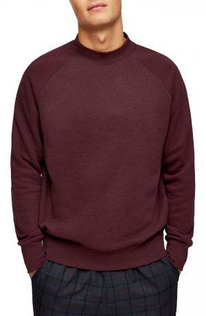 Men's Topman Classic Crew Sweatshirt, Size Large - Burgundy