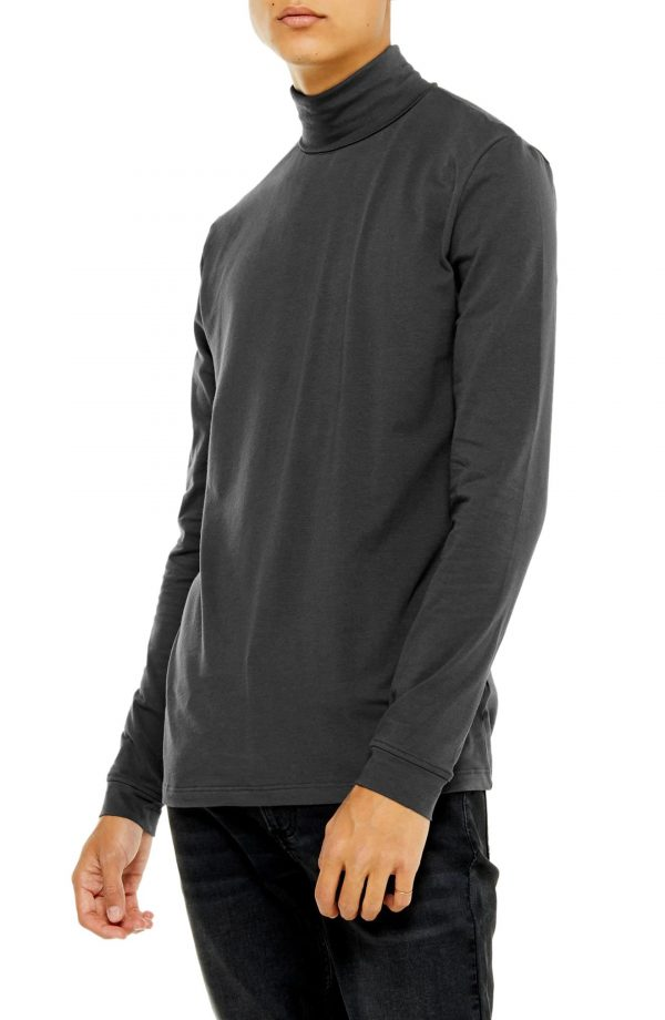 Men's Topman Classic Fit Long Sleeve Turtleneck Shirt, Size X-Small - Grey