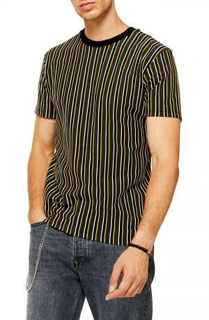 Men's Topman Classic Fit Stripe Pique T-Shirt, Size Large - Yellow