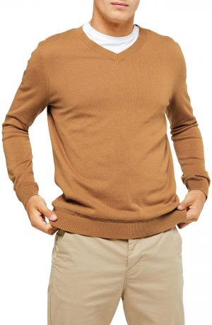 Men's Topman Classic Fit V-Neck Sweater, Size Large - Beige