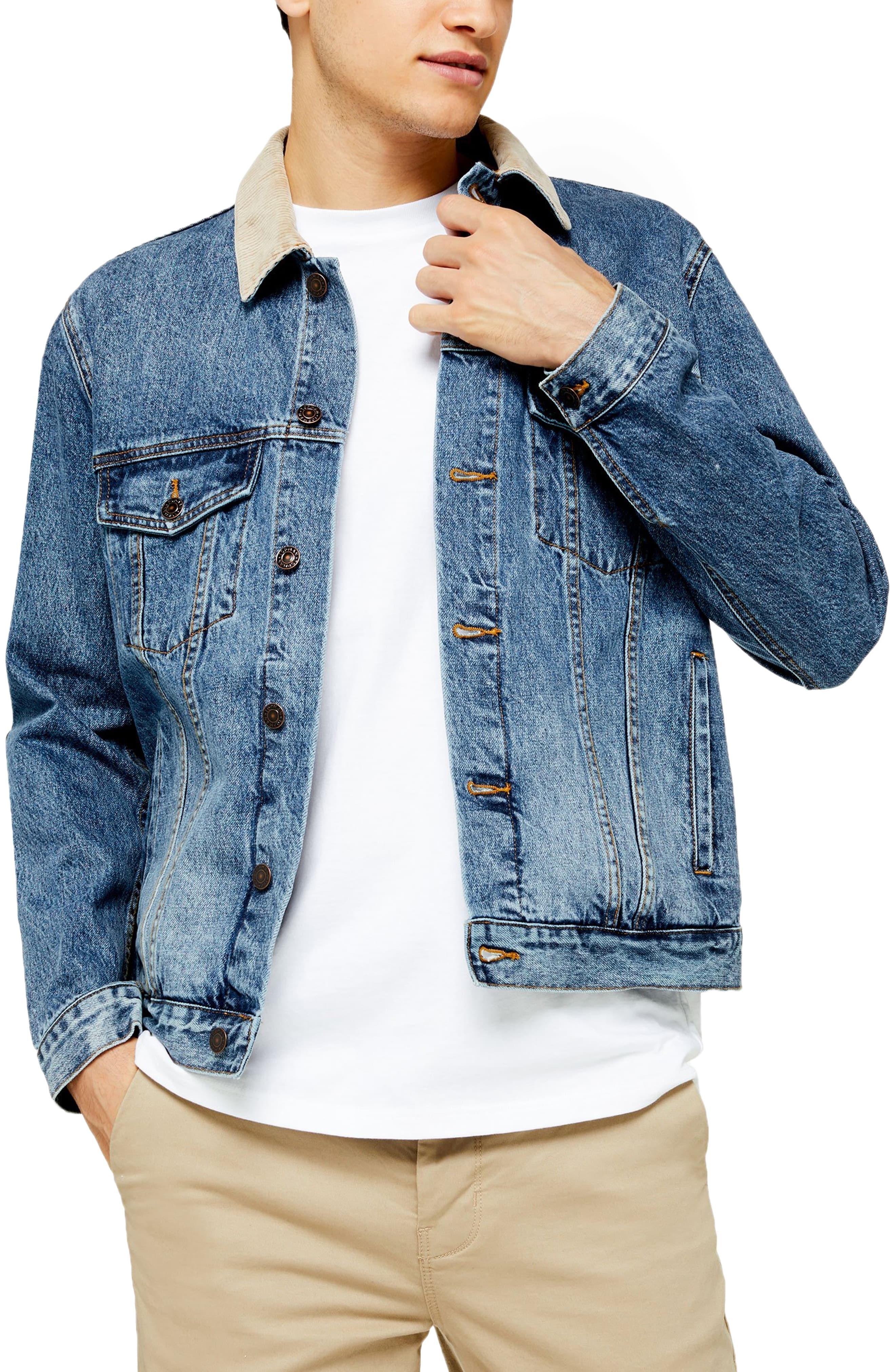 JacketSize Corduroy Men's Classic Fit Collar Denim Blue Large Topman 6yYfgb7