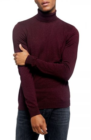 Men's Topman Cotton Turtleneck Sweater, Size Large - Burgundy