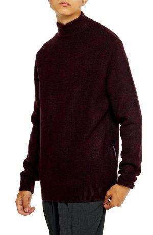 Men's Topman Harlow Classic Fit Side Zip Mock Neck Sweater, Size Large - Burgundy