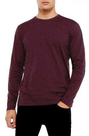Men's Topman Harry Stripe Long Sleeve T-Shirt, Size Large - Burgundy