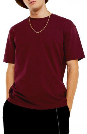 Men's Topman Oversize Fit T-Shirt, Size Large - Burgundy