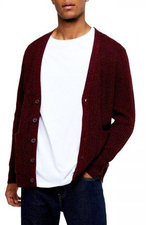 Men's Topman Rack Textured Cardigan Sweater, Size Large - Burgundy