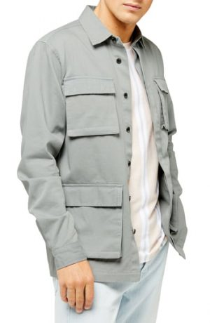 Men's Topman Sage Classic Fit Long Shirt Jacket, Size X-Small - Green
