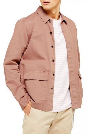 Men's Topman Shirt Jacket, Size Large - Pink