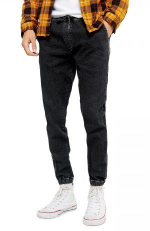Men's Topman Slim Fit Denim Jogger Pants, Size 28 x 30 - Black